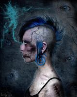 Blue Zombie Girl by ToxicRedWater