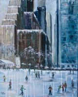 Skating in Snowy Bryant Park NYC by Wulff-Arts