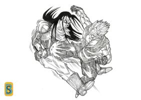 Vegeto GT vs SC17 by bloodsplach