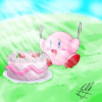 Kirby and his cake by SailorBomber