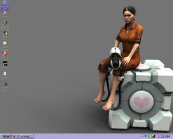 Portal - Chell Wallpaper by Doublevisionary