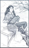 Christa drawing on the Snowy Lane - for Adachy by Madda-Sketches