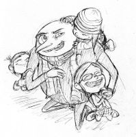Gru and his girls by halfeatencandybars