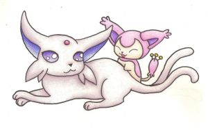 Espeon and Skitty by smokecloud2743