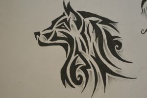 Tribal Wolf Tattoo #2 by forever-broken92