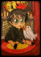 Harry chibi gryffindor common room by TomRiddlesBride19