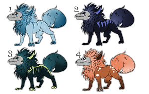 Fluffy Skull dogs adopts [OPEN] {CHEAP SALE } by SlaveToTheMocha