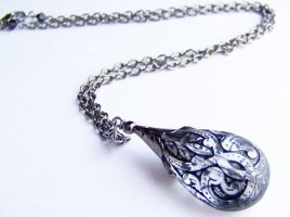 Black Lace Lucite Necklace by ms-pen