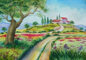 spring in the countryside by Blumye
