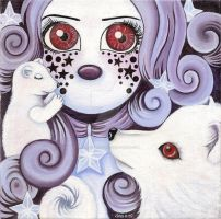 Girl with mink and arctic fox by HellbeeretH