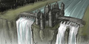 Castle on the Falls Sketch by Cory-Freeman