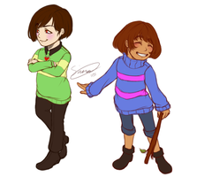 Undertale Chara and Frisk by Issane