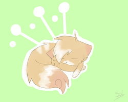 Sleeping peach kitty by Solthewolf