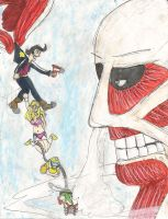 Space Dandy vs the Colossal Titan by kingofthedededes73
