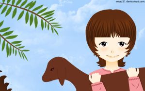 Girl with baby goat by waad11