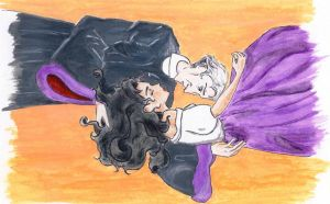 Frollo and Esmeralda ~ embrace by traces-on-a-page
