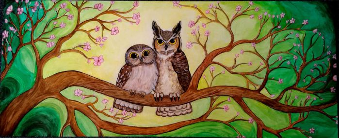 Owls on branch by Angelic-Painter