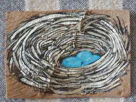 ATC Robin's Nest on Bark by claudiamm37