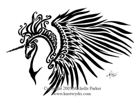 Celtic Tribal Winged Unicorn by MPFitzpatrick