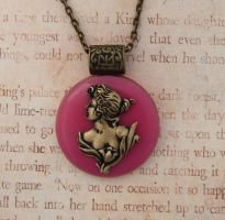 Victorian Brass Lady Glass Pendant by FusedElegance