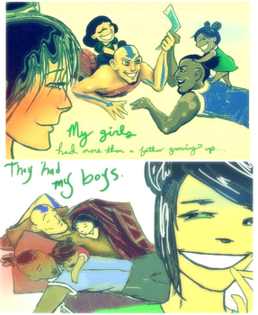 Aang and Sokka babysit the Beifongs by shazam26