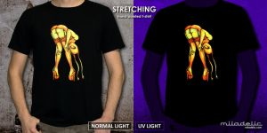 STRETCHING - fluorescent, hand painted tee by miladelic