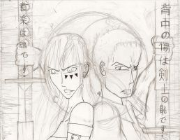 Kenshi no Chikai +Sketch/Lineart+ by CanadianGothStalker