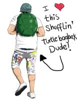 Turtle Bag Pack Dude by LauraIsaMachine