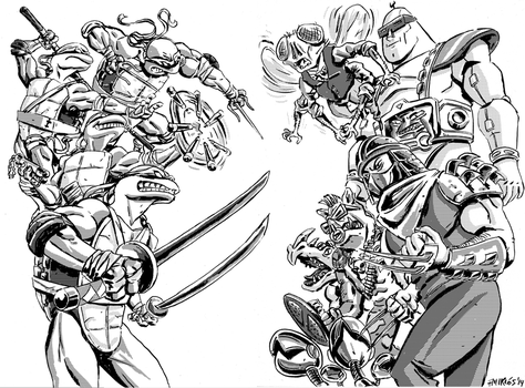 TMNT double page fanart by nonamefox