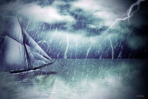 Storm over calm waters ~ by hallbe