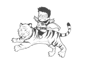 Damian on a Tiger by b-dangerous