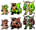 Chespin Quilladin Chesnaught GSC Sprites by Axel-Comics
