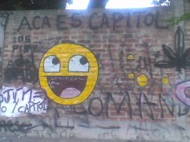 The Awesome Smiley Grafitti by ittehbittehtiger