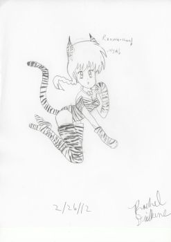Female Ranma in cat outfit by OtakuPrincess1991