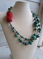 Statement Turquoise Necklace by SadiesAccessories