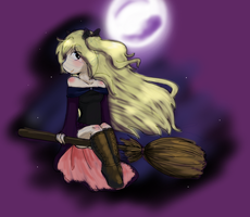 Salem riding a broom by ThaMutt