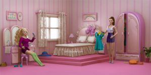 Pink Bedroom by caillu