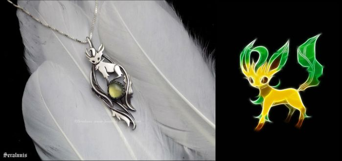'Leafeon', handmade sterling silver pendant by seralune