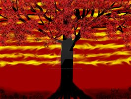 Red Tree Freaky Sky. by Henry V. 2012 by HenryValdROCKS