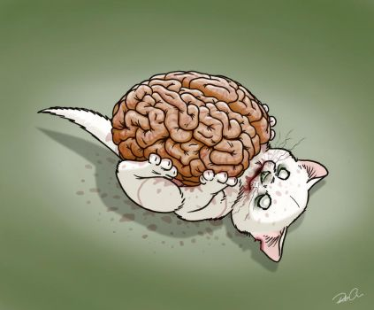 Zombie Kitten Loves Brains by RobtheDoodler