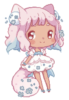 [GIF] Ivory Pixel Dolly by Cottoneeh