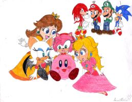 Kirby and Girls by SammySmall