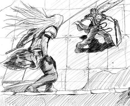 Cloud and Sephiroth by arvalis