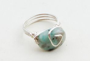 Size 6.5 Kiwi Jasper Wire-Wrapped Ring by FaerieForgeDesign