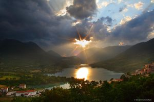 Barrea Lake sunset by GiovanniSantostefano