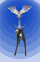 Xerneas, Prince of Kalos with blue background by werewolf-dragon