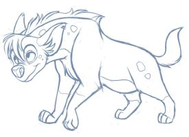 Female Hyena Sketch by kohu-scribbles