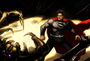 Superman vs Thanagarian Snare Beast by Decepticoin
