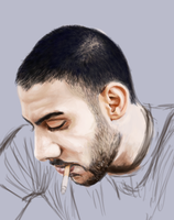 Man Smoking Sketchy Painting (WIP) by aomcesare