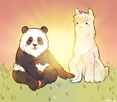 :GIFT: Panda + Alpaca by Foxcollys